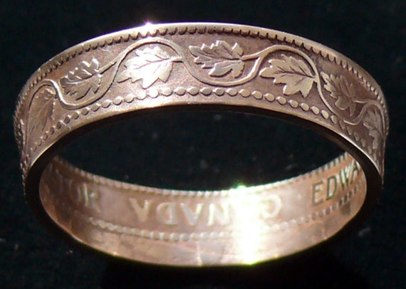 Copper Coin RIng 1902 Canada 1 Cent -  RIng Size 9 1/2 and Double Sided