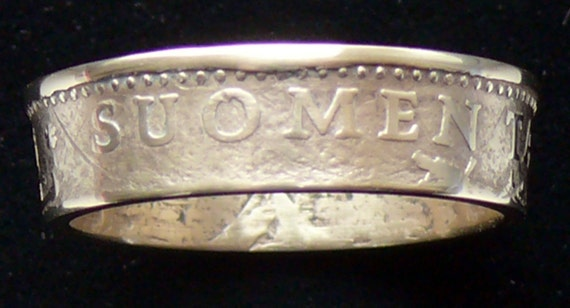 Bronze Coin Ring 1963 Finland 20 Pennia - RIng Size 6 1/2 and Double Sided