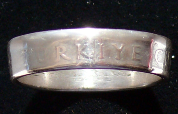 Silver Coin Ring 1947 Turkey 1 Lira RIng Size 9 3/4 and Double Sided