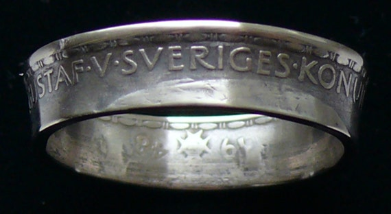 Silver Coin Ring 1948 Sweden 1 Krona  - RIng Size 9 3/4 and  Double Sided