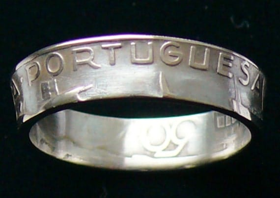 Silver Coin Ring 1944 Portugal 2.50 Escudos  - RIng Size 4 1/4 and  Double Sided