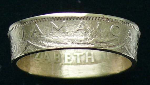 Brass Coin Ring 1958 Jamaica 1 Penny - RIng Size 11 3/4 and Double Sided