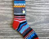 Hand Knit Socks, Men, Women, Teen, Unique Icelandic Original Design, Handknit Wearable Art - Made to Order