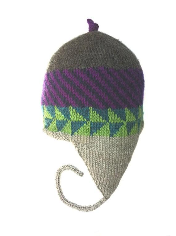Hand Knit Hat, Earflap Women, Men Handknit Earflap Hat, Original Icelandic Design, Handknit Wearable Art Earflap Hat 1, FREE US SHIPPING
