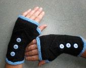 Hand-knitted black women fingerless gloves/wrist warmers