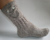 Hand-knitted grey/brown color women socks with owl pattern SPECIAL ORDER for PatConroy