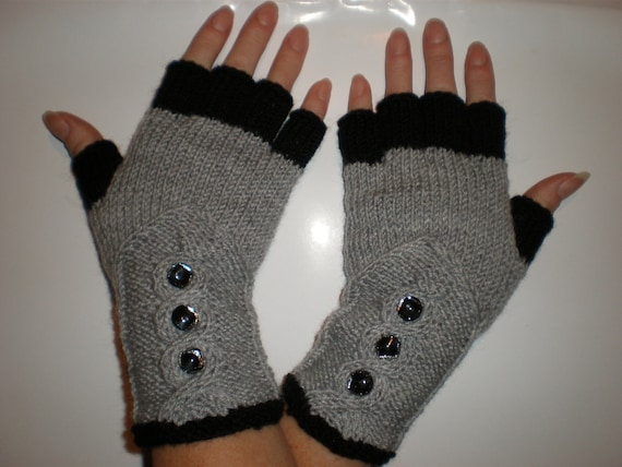 Hand-knitted grey and black color women fingerless gloves with buttons