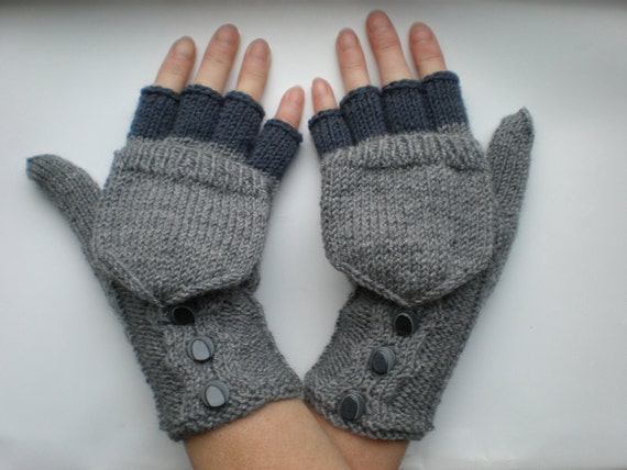 Hand-knitted grey color women convertible fingerless gloves/wrist warmers to mittens with buttons