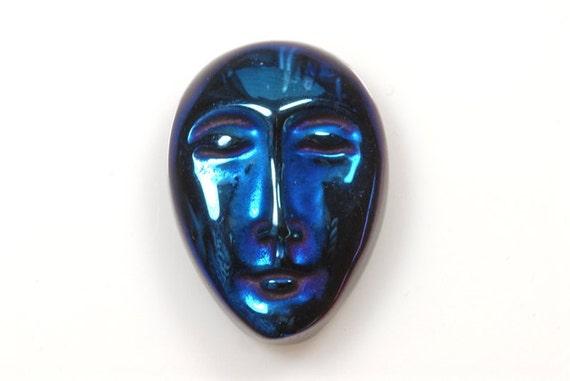 Blue Agate Titanium Face Cabochon
