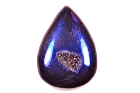 Stunning blue/purple Agate Titanium Druzy Cabochon