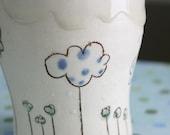 Tumbler- blue dots cloud