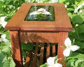 Reclaimed Wood- Trillium Table- Side Table- Nightstand- Furniture- Fused Glass- Mosaic- Arts and Crafts Style- Oak