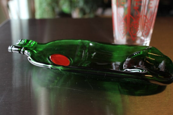 Upcycled Tanqueray - I Like Mike's Severe Gin and Tonics- Recycled Bottle- Green, Fused, Slumped
