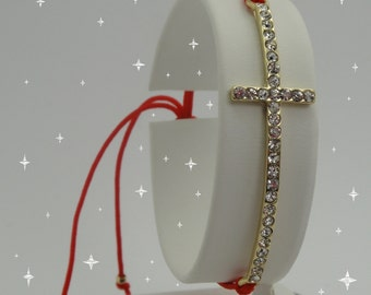 Sideways Cross Gold Plated With Crystals Red Macrame Bracelet