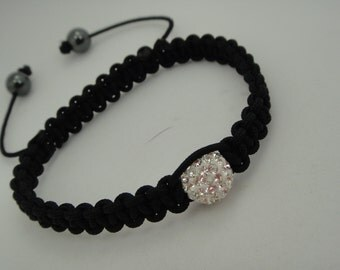 Sale 50% off Macrame Bracelet With Swarovski Crystals and Hematite Stones In Clear