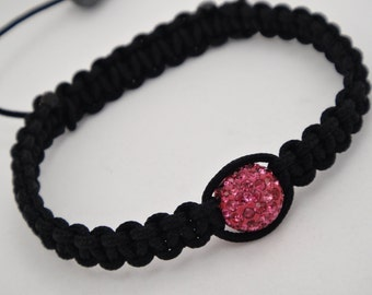 Sale 50% off Macrame Bracelet With Swarovski Crystals and Hematite Stones In Rose