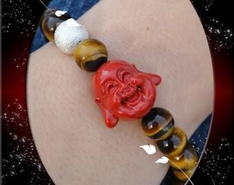 Red Happy Buddha head with Natural Semi Precious Tiger Eye Gemstones Macrame Bracelet