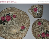 ON SALE Reserved    Vintage  staffordshire china 3 pc set   gold chintz