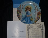 Reco  plate tisket a tasket hand painted  plate 1988 Knowles plate collectors plate