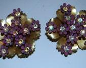 Vintage signed Coro    aurora borealis rhinestone earrings movable petals