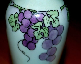 sale Antique purple and  gold vase  grapes and  grapevines  O &E Gutherz signed Old world art