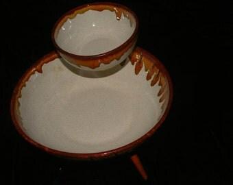 sale Mid Century  ceramic brown drip glaze chip and   dip set