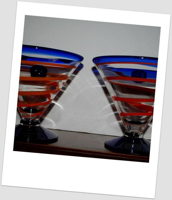 Kosta Boda Margarita glasses  cruise line  cocktail glasses retro  cobalt and orange , dessert glasses  modern art glass