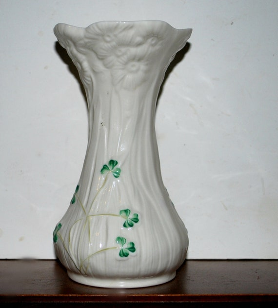 Belleek Vase Shamrock Vase
