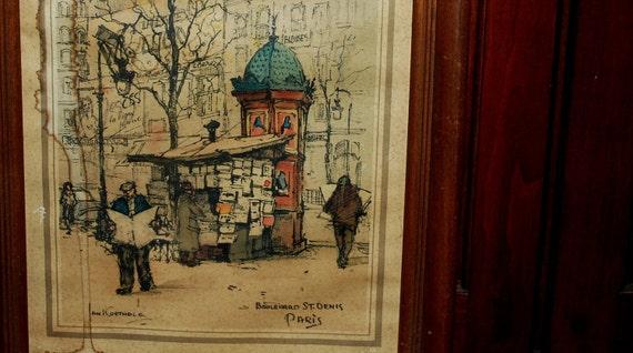 Paris street  art by jan Korthals vintage print