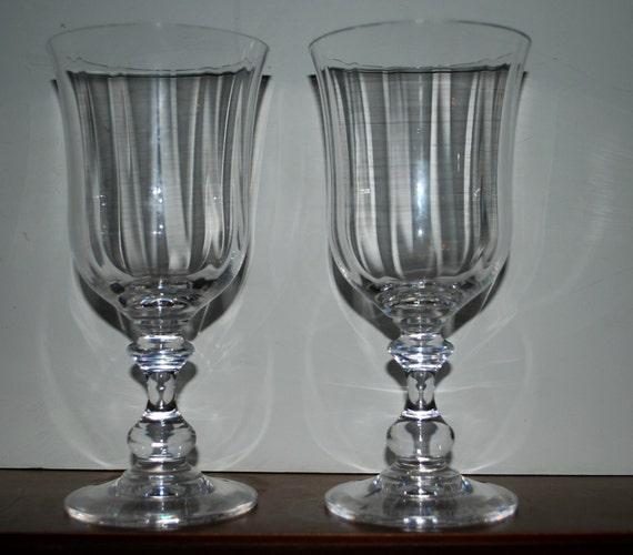 crystal water  goblets wine glasses wedding set of 2