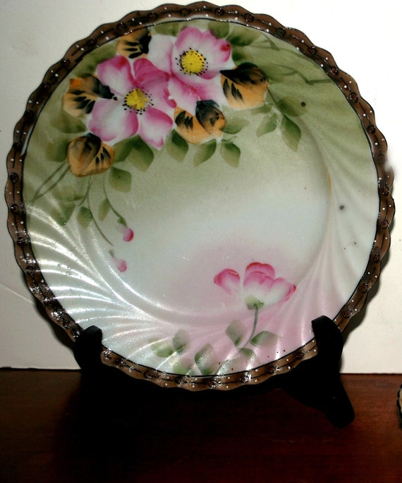 Nippon   salad /dessert plates moriage design painted white raised dots set of 4 plates