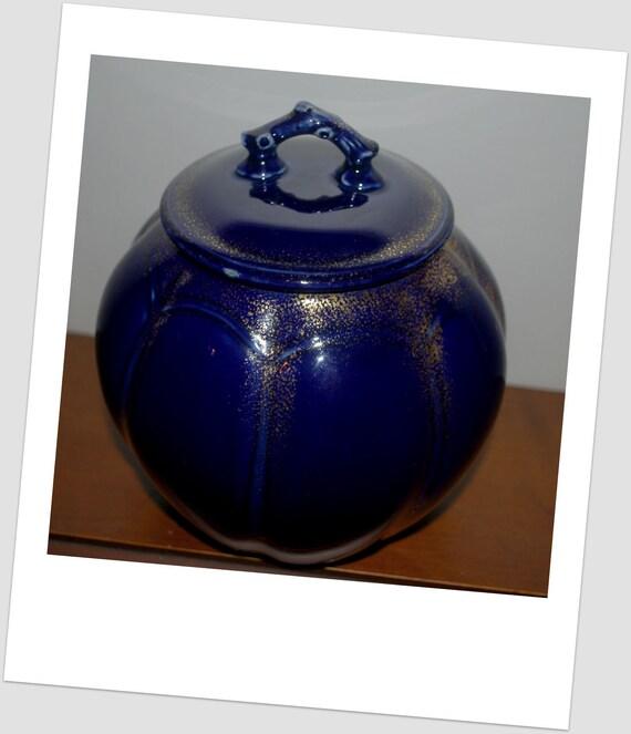 Antique cobalt blue biscuit/ cookie jar made 1899