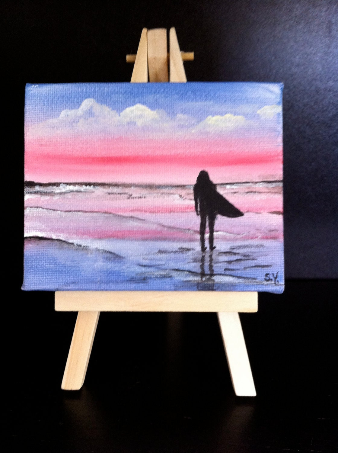 Hand Painted Silhouette Of A Girl Surfer On The Beach Mini