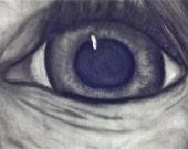 Crazy Eye Charcoal Drawing Original
