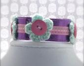 Child Flower Bracelet Purple Pink White Blue Cuff Bracelet