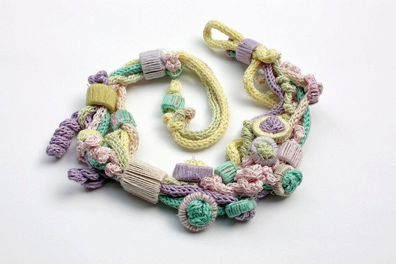 Pastel knit necklace with bamboo beads OOAK