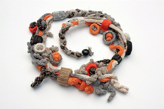 Black orange knit necklace with bamboo beads OOAK