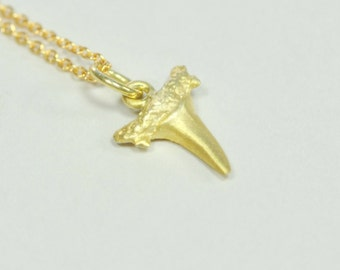 Solid 14K Gold Shark Tooth Pendant