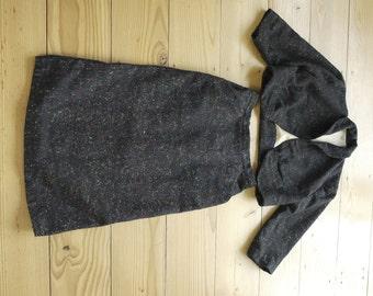 50s wool navy flecked tweed skirt suit