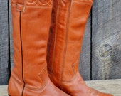 Stewart Cowboy Boots Vintage Leather Cinnamon Brown Women's 6.5C