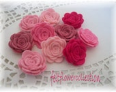 Wool Felt Flower- 10 pcs Handmade Mini Wool Felt Posey-Pretty in Pink Collection or Pick Your Own Colors