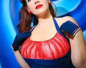 Navy Blue Stretch Poplin with Vintage Red Dotted Swiss Bust Rockabilly Retro PinUp Dress