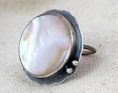 Made to Order -Silver Mother of Pearl Ring - Big Ring - Shell Jewelry - Hammered sterling silver ring - Artisan crafted jewelry
