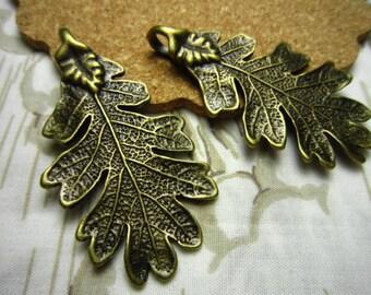 10pcs 48x24mm antique bronze leaf charms pendant R23157