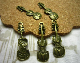 50pcs 24x7mm antique bronze guitar charms pendant R22957