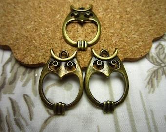20pcs 23x16mm antique bronze owl charms pendant R23634