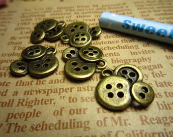 50pcs 14x13mm antique bronze fastener charms pendant R20746
