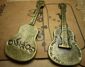 10pcs 62x23mm antique bronze guitar charms pendant R21656
