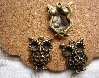 30pcs 20x14mm antique bronze owl charms pendant R23407