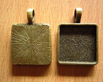 10pcs 20mm antique bronze cabochon pendant settings R24717